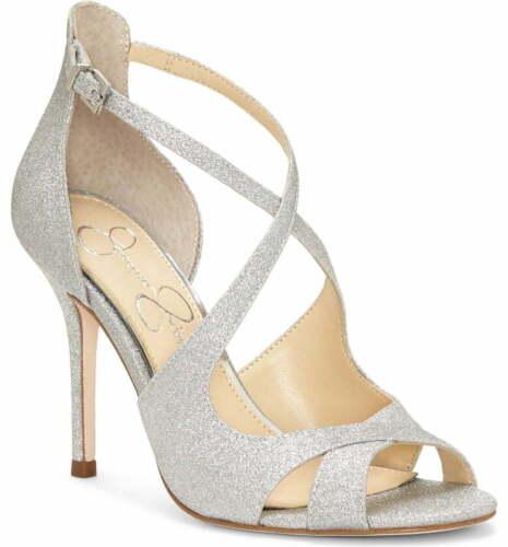 Jessica Simpson Averie Silver Glitter Open Toe High Heel Formal Stiletto