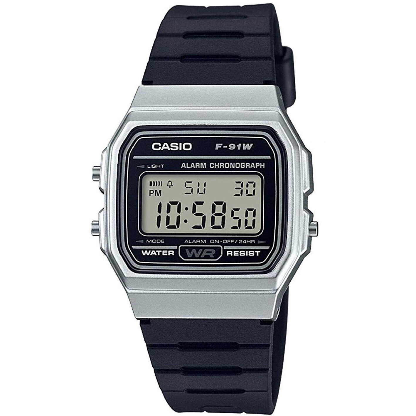 Casio Classic LCD Digital Watch Black and Silver F-91WM-7AEF LCD
