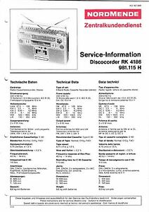 Service Manual-anleitung Für Nordmende Discocorder Rk 4186 981.115 H Tv, Video & Audio