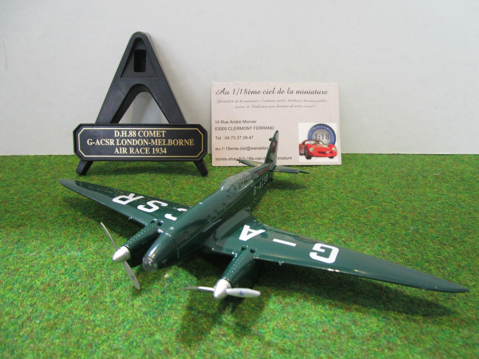 DH 88 COMET  G-ACSR de 1934 vert 1 72 OXFORD 72COM003 avion militaire collection  haute qualité