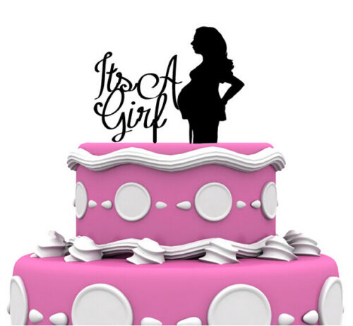 It/'s A Girl Baby Shower Pregnant Silhouette Cake Topper Decoration Gift Favor