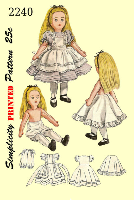 Vintage Simplicity 2240 Alice in Wonderland Doll and Clothes Sewing pattern