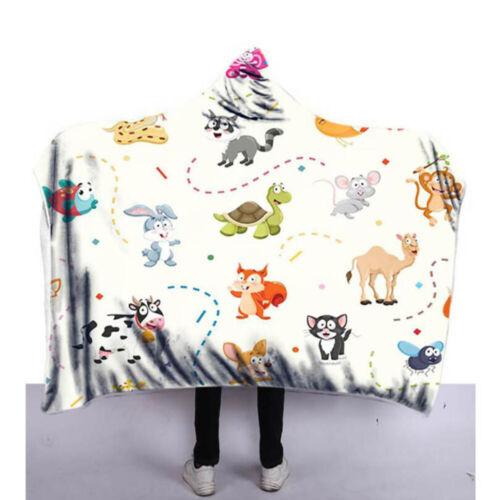 Hooded Blanket 3D Animals Wolf Unicorn Printed Wearable Soft Plush Cloak Cape