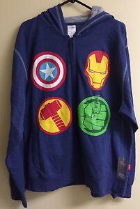 Disney Marvel Avengers Icons Hoodie Iron Man Hulk Thor Captain America Large
