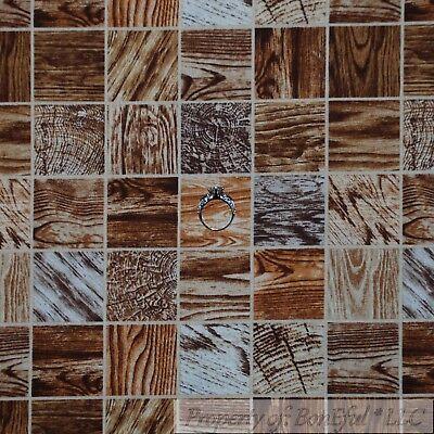 BonEful Fabric FQ Cotton Quilt Brown Light Oak Wood Block Barn Farm Boy Scout US