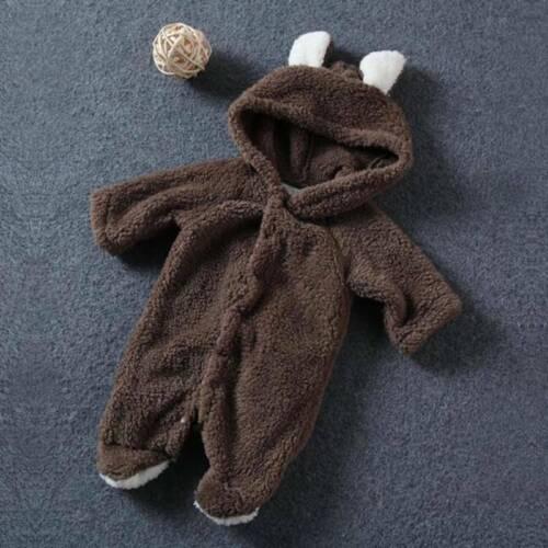 Infant Baby Boy Girl Clothes Warm Hooded Romper Jumpsuit Bodysuit Playsuits UK