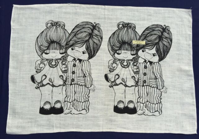 Vintage Retro Souvenir Unused PURE LINEN Tea Towel BOY GIRL LOVE Drawing Cartoon