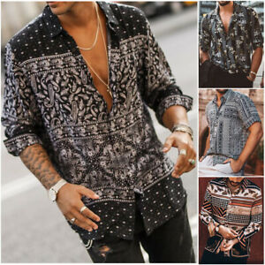 Fashion-Summer-Men-Hawaiian-Floral-short-Sleeve-V-Neck-T-shirt-Casual-Shirts-Top