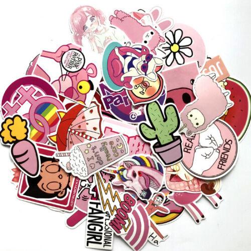 50Pcs PVC Waterproof Pink Girls Fun Sticker Toys Luggage Laptop Moto Car Decal