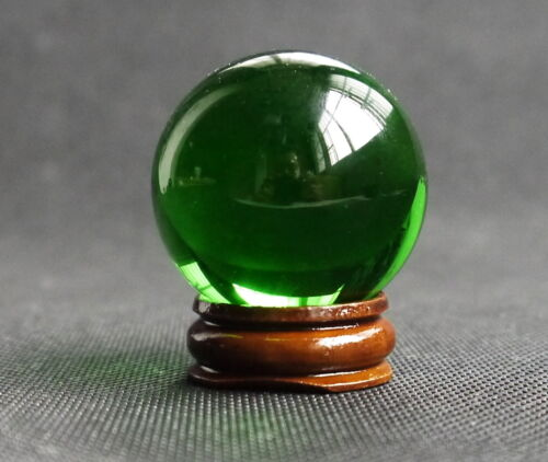 HOT 40MM Stand Natural Green Obsidian Sphere Large Crystal Ball Healing Stone