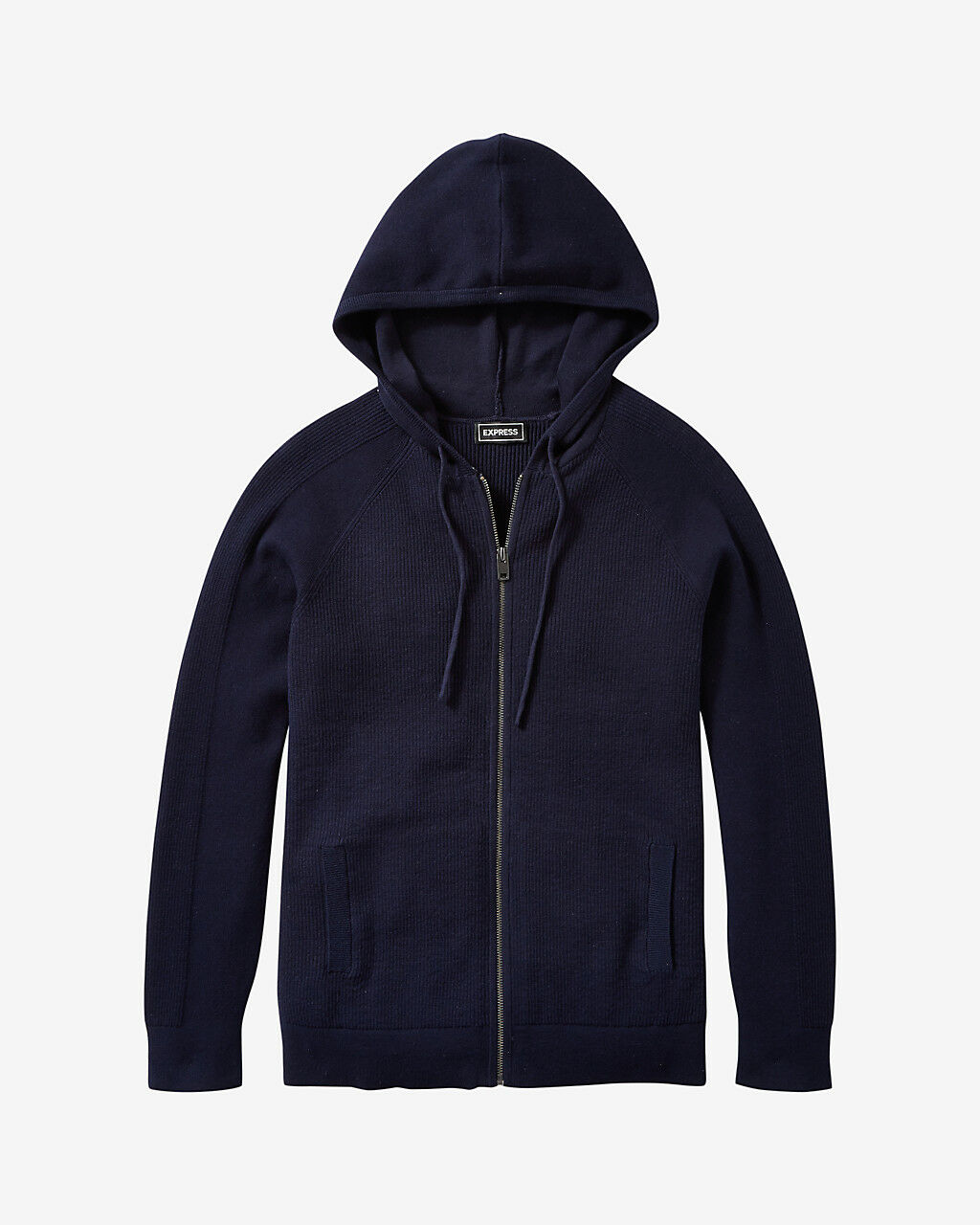 Express cotton ribbed full zip front hooded sweater L NWT Navy Style 03984841