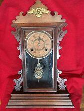 Antique ANSONIA Clock Co Walnut Victorian Mantle Clock Fancy 1882 8 Day