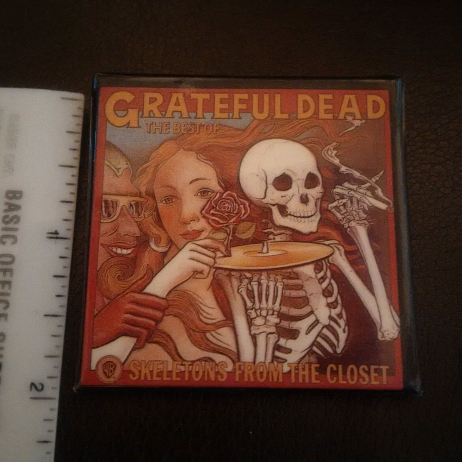 Grateful Dead Skeletons From The Closet Uk Square Promo Pin Rare 1970 S