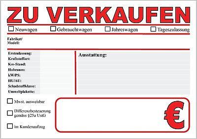 Fahrzeug- Kfz- Preis- Verkaufsschilder 3 Gebrauchtwagen Auto- PKW-