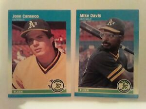 1987-Fleer-Glossy-Mini-Jose-Canseco-Mike-Davis-A-039-s-UNCIRCULATED