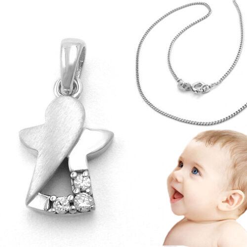 Baby Taufe Kinder Kommunion moderner Steinchen Schutzengel Kette Echt Silber 925