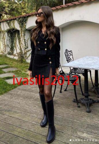 ZARA NEW WOMAN TEXTURED CROPPED BLAZER JACKET BLACK XS-XXL 7970//679