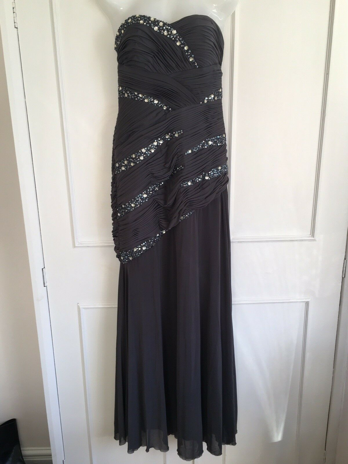 JS Boutique Grey Beaded Sparkle Long Evening Gown Prom Dress UK size 8 10 BNWT