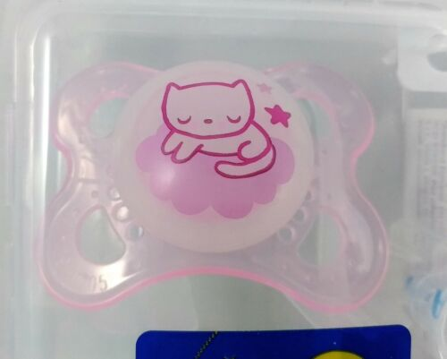 MAM Original NIGHT n°2 Succhietti mesi 2-6 ciucci rosa gatto  illumina al buio