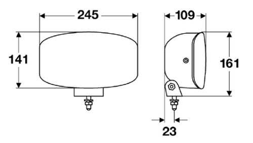 SINGLE 12//24V HELLA Jumbo 320 FF Spot Luz Con Luces de posición