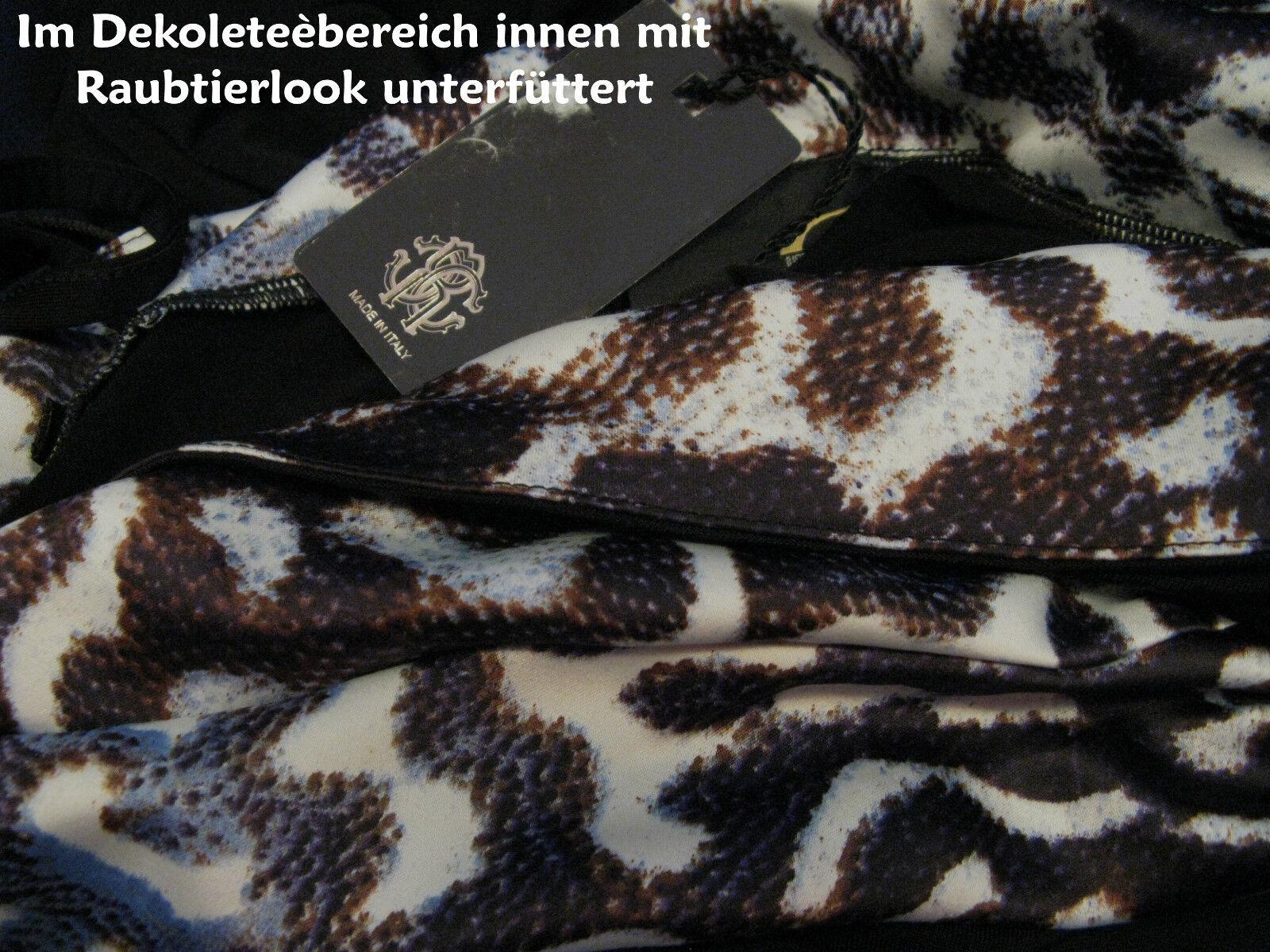 Roberto CAVALLI abito taglia 38 Leopard predatore perfetto e e e arricciature Rassiges Nero e42376