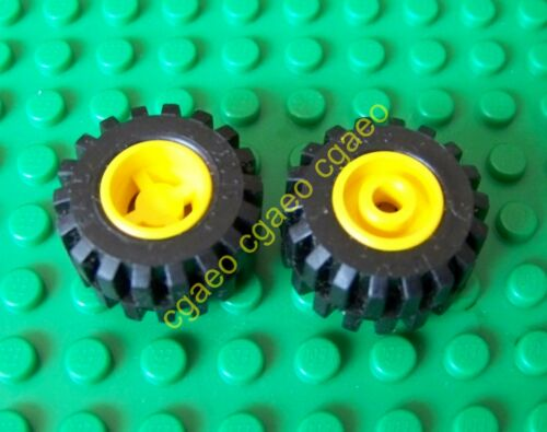 x 12mm 1x Lego 6014ac01 Wheel 11.5mm D yellow with Black Tire