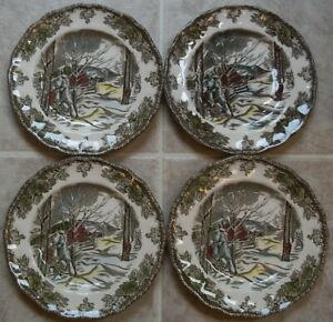 SET-of-4-Johnson-Brothers-FRIENDLY-VILLAGE-Dessert-Bread-amp-Butter-Plates