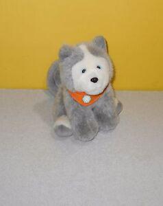 8 Gymboree Husky Malamute Puppy Dog Plush Blue Eyes Orange Scarf
