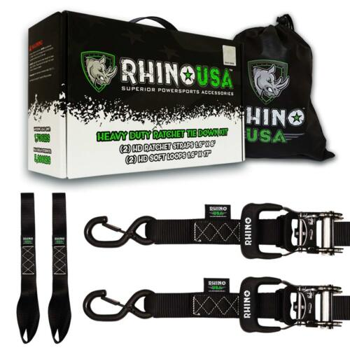 Rhino USA Ratchet Straps Motorcycle Tie Down Kit 5,208 Break Strength New