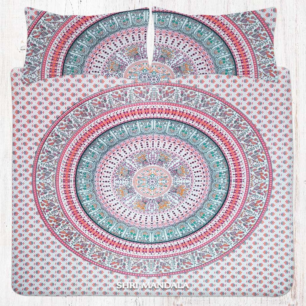 orange Green Mandala Bedsheet Queen Bohemian Hippie Bed Cover Pillow Covers Set