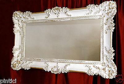 Bilderrahmen Barock Weiß/Gold Fotorahmen Rokoko 96x57 Fotorahmen Groß 3074