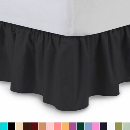 Harmony Lane Solid Ruffled Bed Skirt Complete Dust Ruffle-14 Colors /& 6 Sizes