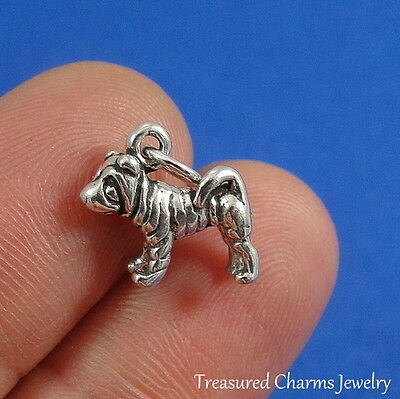 .925 Sterling Silver SHAR-PEI DOG CHARM Chinese Dog PENDANT