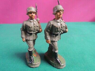 *l68*- 2 Soldatini In Pasta - F.f. - 7,5 Cm - Lineol Elastolin - Giocattolo