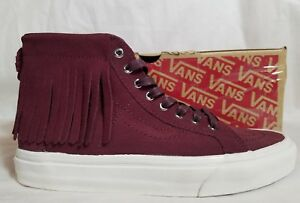 New-Vans-SK8-Hi-Moc-Suede-Leather-Port-Royal-Red-White-Skate-Shoe-Women-Size-6