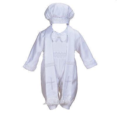Neu Jungen Seide Taufe 3 Teile Set mit Mütze  und Schal 0-3 9-12 Monate