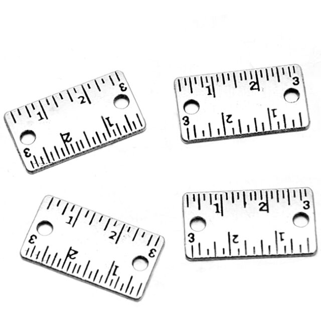 50x Wholesale Vintage Silver Ruler Designs Alloy Double Hole Jewelry Findings C