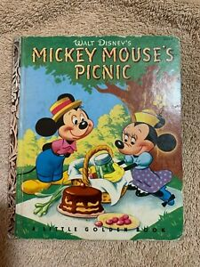 A-Little-Golden-Book-Walt-Disney-039-s-Mickey-Mouse-039-s-Picnic-1950-Edition-D15-NICE
