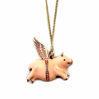 KiTsCh FLYING LUCKY PIG NECKLACE~When Pigs Fly~Wings~Mini Piggy~Cute Pink Piggie