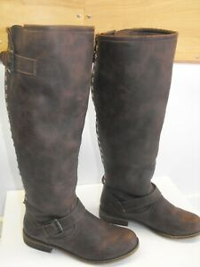 7ea79215b38 Women s CANDIES KINGSTON Brown Knee High Tall Back Zip Studded Boots ...