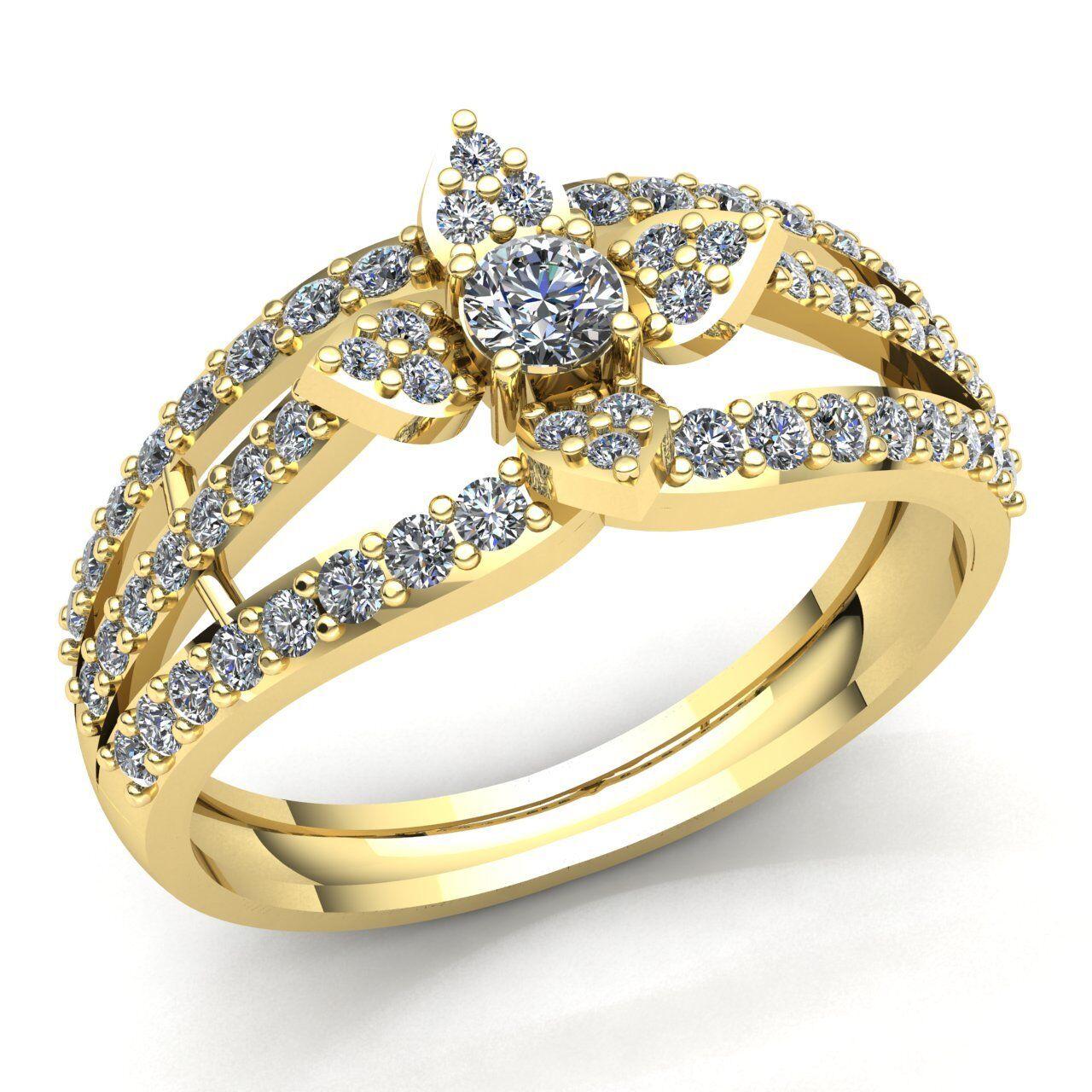 Genuine 1ct Round Cut Diamond Ladies Accent Flower Engagement Ring 10K gold