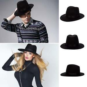 Details about Black Wool Felt Vintage Women Men Wide Brim Fedora Trilby Hat  Floppy Panama Cap 5b9f72f4cea