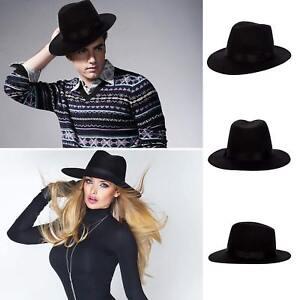 Details about Black Wool Felt Vintage Women Men Wide Brim Fedora Trilby Hat  Floppy Panama Cap a0a4669828f