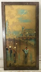 PAINTING-Post-Impressionist-Signed-Europe-Street-Lamp-Carriage-Bridge-Vintage