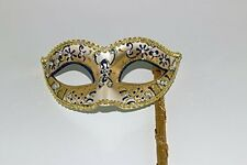 GLITTERING BLUE GOLD JEWELLED VENETIAN MASQUERADE BALL MASK  HAND HELD STICK