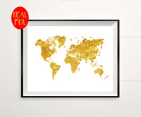 World Map Atlas Globe  Gold Foil Print Vintage Foil Rose Gold Wall Art
