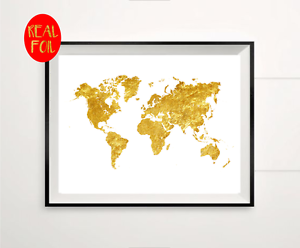 World map atlas globe gold foil print vintage foil rose gold wall image is loading world map atlas globe gold foil print vintage gumiabroncs