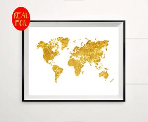 World map atlas globe gold foil print vintage foil rose gold wall image is loading world map atlas globe gold foil print vintage gumiabroncs Images