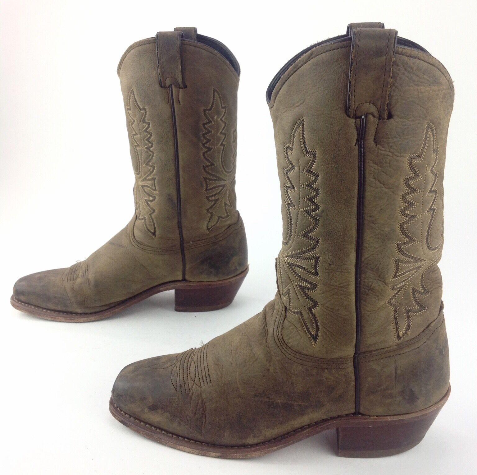 Donna Brown Pelle Pelle Brown Square Toe Cowboy Western  A Made Stivali Sz 9 1/2 5e85cc