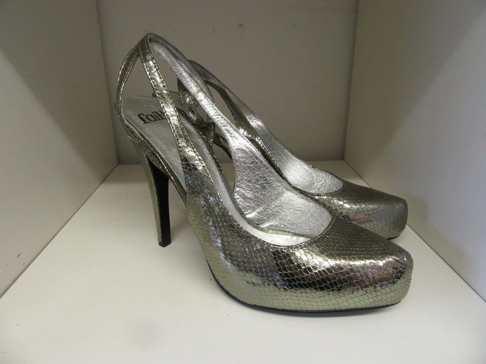 FAITH SILVER SIZE LEATHER SNAKESKIN STRAPPY SHOES SIZE SILVER 7 BRAND NEW a8caa1